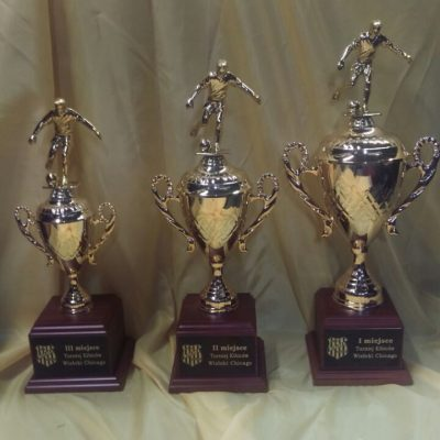 3 soccer cup trophies