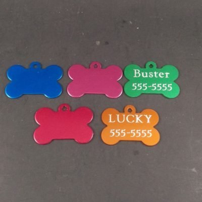 Custom Engraved Bone Shaped Dog ID Tag