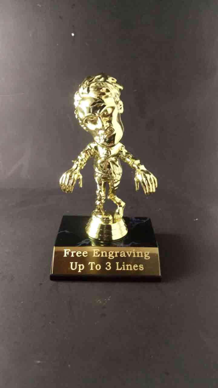 Halloween Trophy | Halloween Trophy With Fee Engraving On Brass Plate